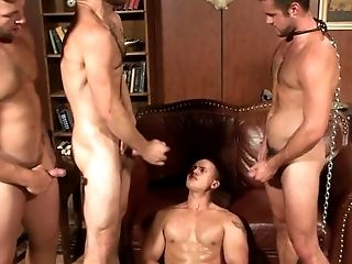 Dominating jock has sub bound while fucking