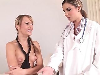 Hottest pornstars Peaches Johnson and Blue Angel in best blowjob, college porn clip
