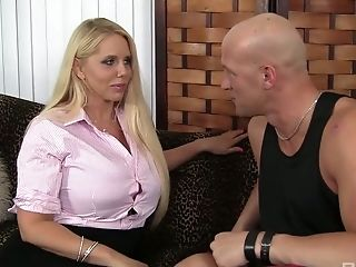Bald headed dude drills pussy of sex-appeal blonde Karen Fisher