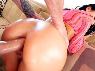 All lubed wild brunette cowgirl Megan Rain wanna nothing but hard anal