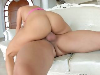 Dped bitch Mea Melone shows off her creampied gaped anal hole