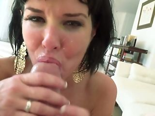 Short haired MILF in sexy lingerie rides cock and fingers her asshole