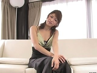 Slender Japanese lady Runa Sezaki finally exposes her big boobs