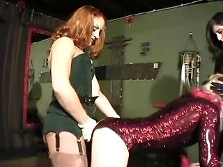 Sluts with strap on cocks torture kinky stud in domination film