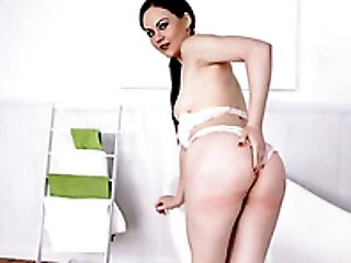 Black haired slutty lady Tina Kay performs hot solo on the carpet in bathroom