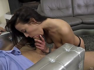 Anal Sex, Ass, Blowjob, Brunette, Clamp, Couple, Creampie, Cum, Cumshot, Dick,