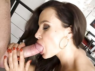 Stylish MILF Lisa Ann takes a big load in silky lingerie