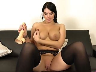 Ardent lonely MILF Kylie K gets rid of her thongs to pet herself with toy