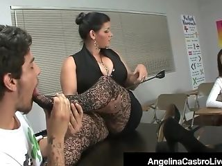 Cuban Teacher Angelina Castro Punish Roxanne To Do Foot Job!