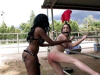 Interracial bondage session of two kinky lesbian senoritas