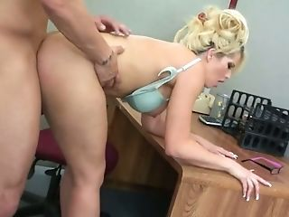Sexy secretary with awesome cleavage Brooke Haven gets her pussy fucked in the office