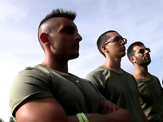 Hunter Leone fucks horny dudes in group sex in the army