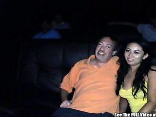 Hot Latina Giggles Gangbang Porn Theater Cum Blast!