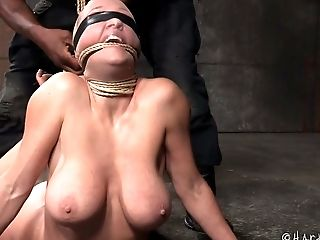 Blond haired wanton MILF with big boobies Darling asked her black BDSM master to tie her tightly