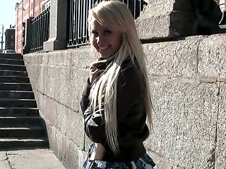 Blonde sweet sexy Russian girl flashes her small breasts in public