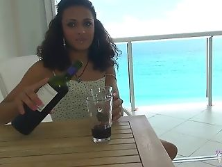 Keira Verga chatting and flashing on the porch
