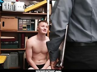Tall blonde straight boy barebacked by older horny security guard