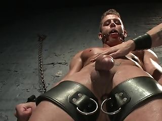 Clamped gay man roughly fucked after a brutal oral