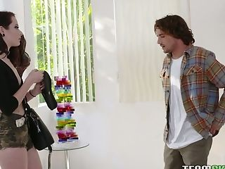 Slutty chick in shorts Riley Renee hooks up with old fellow