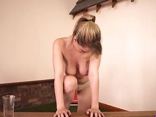 Kinky slender hottie called Brook Little exposes her natural tits and sexy rack