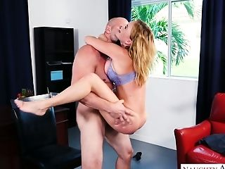 Delicious secretary Krissy Lynn hooks up with her bald headed boss