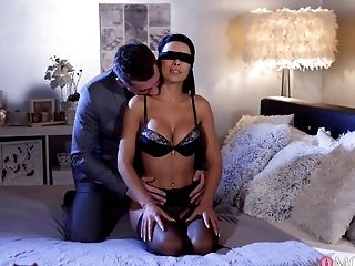 Real orgasms after the blind folded wife receives another man's cock