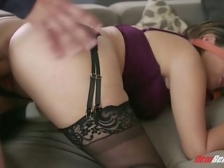 Blind folded babe Alix Lovell gets her slit rammed and gives a blowjob