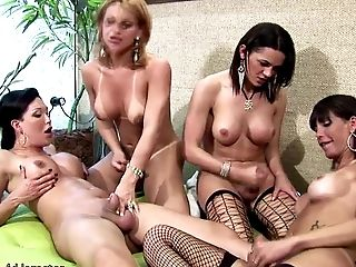Four trannies lick wine off each others wet bubble asses